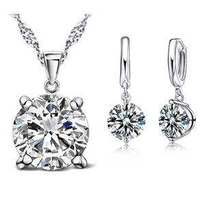 Sterling Silver Round Clear Austrian Crystal Set